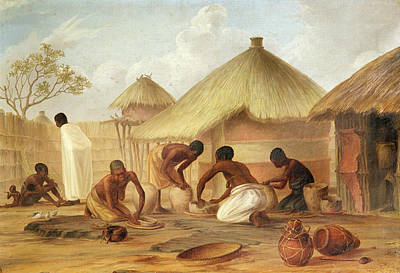 African Huts Photograph - Manufacture Of Sugar At Katipo - Making The Panellas Or Pots To Contain It, 1859 Oil On Canvas by Thomas Baines