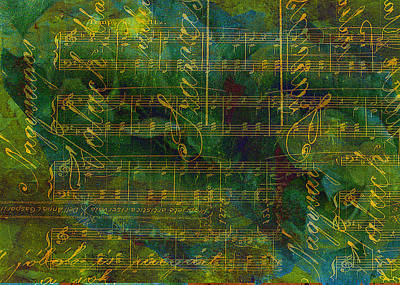 Petrol Green Digital Art - Manuscript Abstract by Sarah Vernon