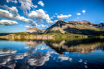 Reflection Photograph - Many Glacier Hotel by Aaron Aldrich