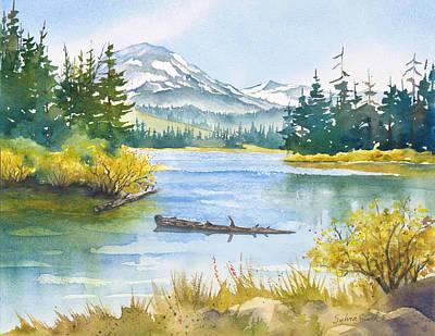 Lassen Painting - Manzanita Lake by Sylvia Smith