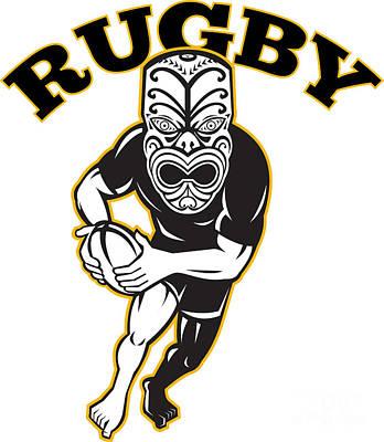 Maori Mask Rugby Player Running With Ball Print by Aloysius Patrimonio