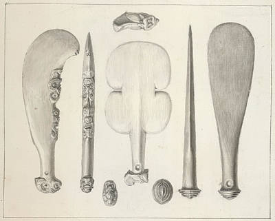 Maori Weapons Print by British Library