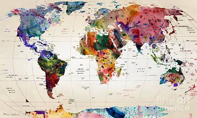 Geography Digital Art - MAP by Mark Ashkenazi