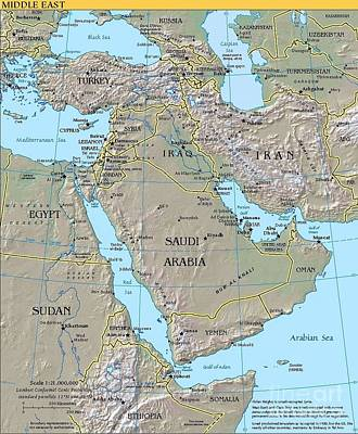 Iraq Drawing - Map - Middle East by Pg Reproductions