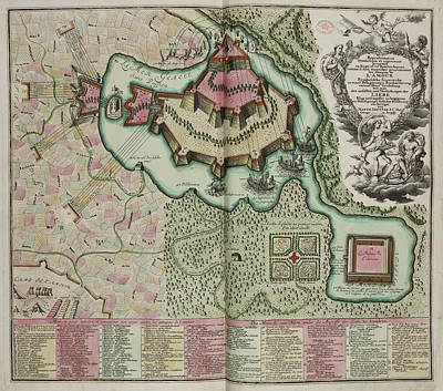 Jb Photograph - Map Of A Fortification On An Island by British Library