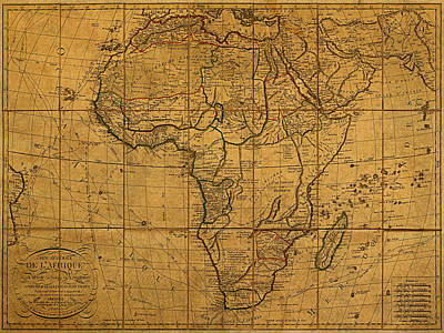 Old Mixed Media - Map Of Africa Circa 1829 On Worn Canvas by Design Turnpike
