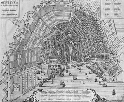 Map Of Amsterdam, 1662  Print by Cornelis I Danckerts