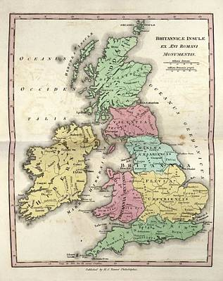 Flavia Photograph - Map Of Ancient Britannia by Library Of Congress, Geography And Map Division