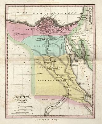 Arabia Photograph - Map Of Ancient Egypt by Library Of Congress, Geography And Map Division