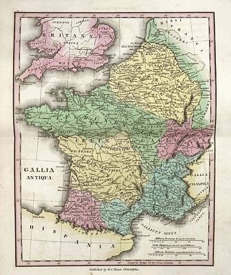 Map Of Ancient Gaul Print by Library Of Congress, Geography And Map Division
