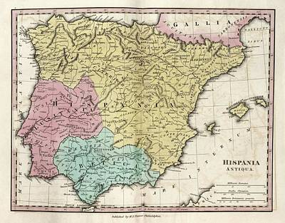 Map Of Ancient Hispania Print by Library Of Congress, Geography And Map Division