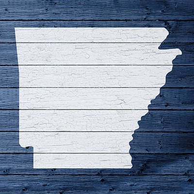 Map Of Arkansas State Outline White Distressed Paint On Reclaimed Wood Planks Print by Design Turnpike