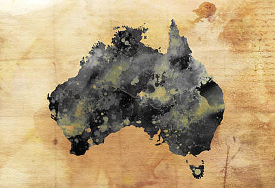 Koala Digital Art - Map Of Australia Grunge by Daniel Hagerman