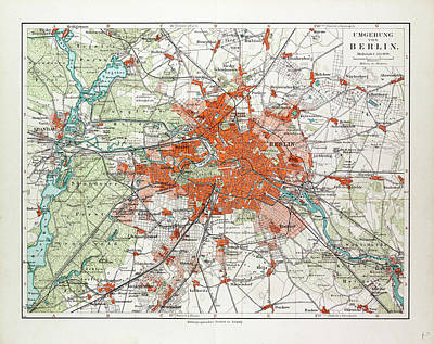 Berlin Drawing - Map Of Berlin And The Surrounding Area Germany 1899 by German School