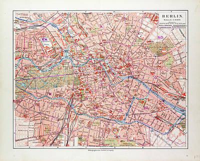 Berlin Drawing - Map Of Berlin Germany 1899 by German School