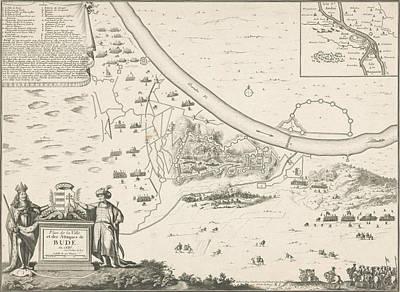 Loon Drawing - Map Of Buda, 1686, Harmanus Van Loon, Lodewijk Xiv King by Harmanus Van Loon