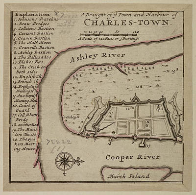 Map Of Charles-town Print by British Library