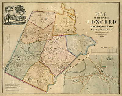 Map Of Concord 1852 Print by Andrew Fare
