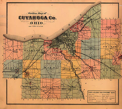 1874 Drawing - Map Of Cuyahoga County Ohio 1874 by Mountain Dreams