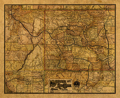 New Mexico Mixed Media - Map Of Denver Rio Grande Railroad System Including New Mexico Circa 1889 by Design Turnpike