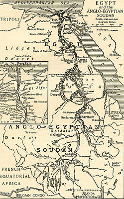 Map Of Egypt Print by English School