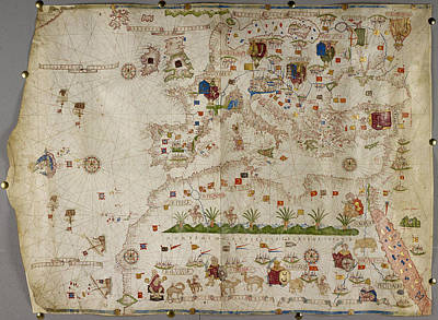 Land Feature Photograph - Map Of Europe And Asia Minor by British Library