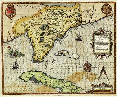 Cartography Photograph - Map Of Florida And Cuba by Library Of Congress, Geography And Map Division