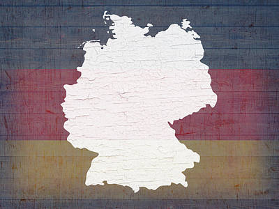 Map Of Germany In White Old Paint On German Flag Barn Wood Print by Design Turnpike