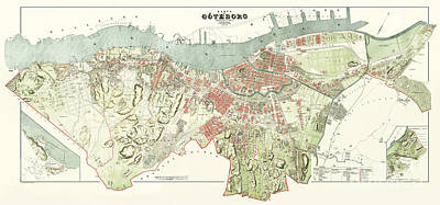 Sweden Drawing - Map Of Gothenburg - 1888 by Pablo Romero
