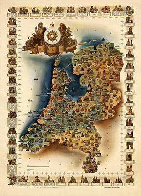 Map Of Netherlands Photograph - Map Of Holland by Andrew Fare