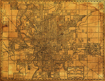 Bicycling Mixed Media - Map Of Indianapolis Vintage Bicycle And Driving Street Diagram On Weathered Parchment by Design Turnpike