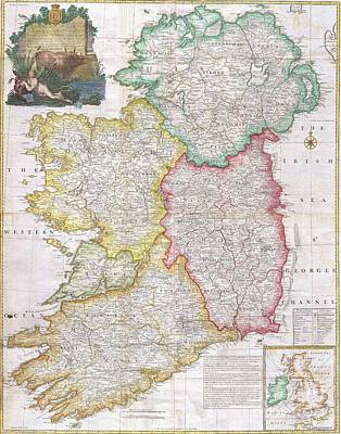 Map Of Ireland  1794 Print by Pg Reproductions