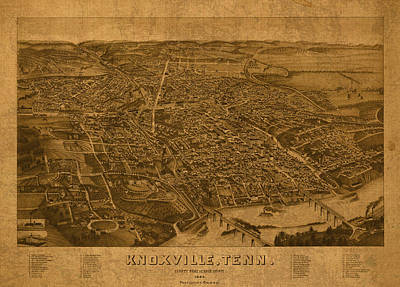 Old Mixed Media - Map Of Knoxville Tennessee In 1886 On Worn Distressed Canvas Parchment by Design Turnpike