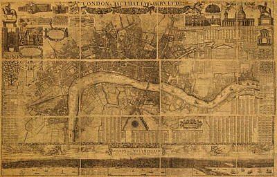 Map Of London England Old Parchment Circa 1905 Print by Design Turnpike