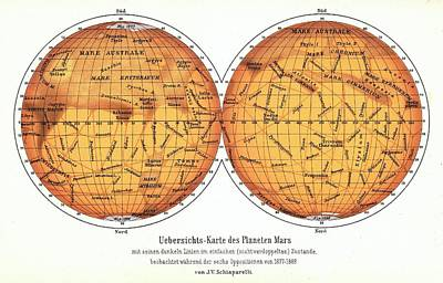 History Of Science Photograph - Map Of Mars by Detlev Van Ravenswaay