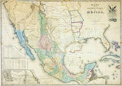 Conversation Mixed Media - Map Of Mexico - 1847 by Pg Reproductions