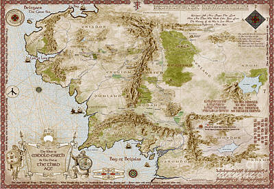 Map Of Middle Earth Print by Anthony Forster