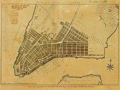 Lower East Side Photograph - Map Of New York City by American Philosophical Society
