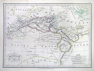 Map Of North Africa Or Barbary Print by Paul Fearn