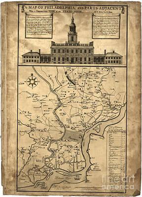 Philadelphia History Drawing - map of Philadelphia and parts adjacent - 1752 by Pablo Romero