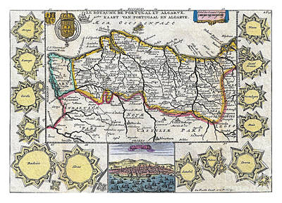 Portugal Art Painting - Map Of Portugal - 1747 by Pablo Romero