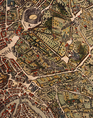 Landmarks Drawing - Map Of Rome by Joan Blaeu