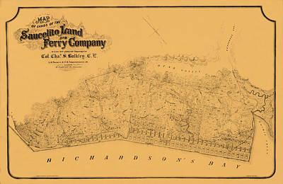 Sausalito California Photograph - Map Of Sausalito 1868 by Andrew Fare
