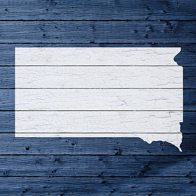 Map Of South Dakota State Outline White Distressed Paint On Reclaimed Wood Planks Print by Design Turnpike
