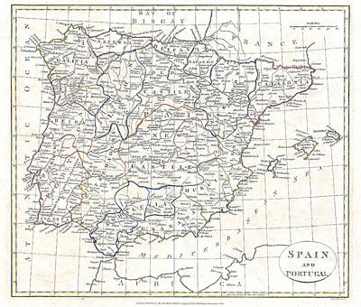 Portugal Art Painting - Map Of Spain And Portugal - 1799 by Pablo Romero