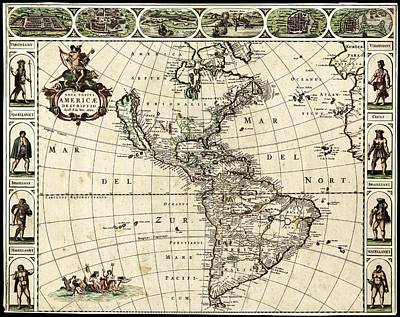 Map Of The Americas Print by Library Of Congress, Geography And Map Division