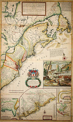 America The Continent Painting - Map Of The Dominions Of The King Of Great Britain On Ye Continent Of North America London 1715 by MotionAge Designs