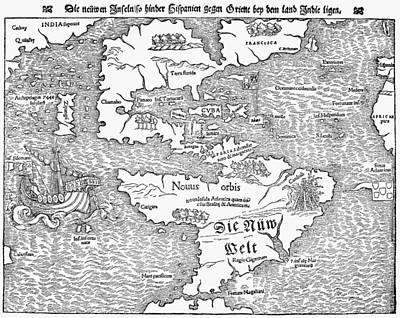 Map Of The New World, 1544 Print by Granger