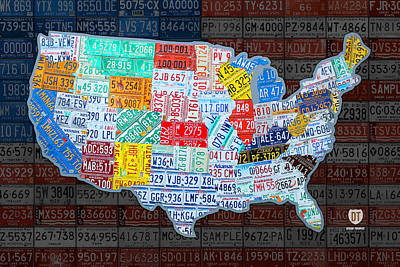 North American Print featuring the mixed media Map Of The United States In Vintage License Plates On American Flag by Design Turnpike