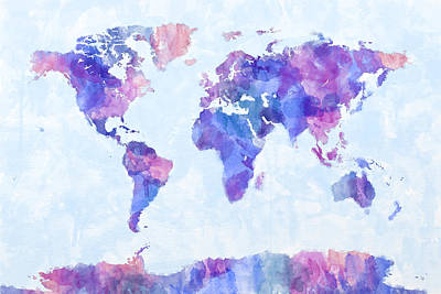 Map Of The World Digital Art - Map Of The World Map Watercolor Painting by Michael Tompsett